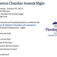 Citizen of the Year to be announced at Pemberton Chamber of Commerce Awards, Jan 30