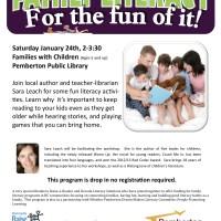At the library: Garth Riess slideshow and drop-in literacy workshop for parents of 5+ year olds
