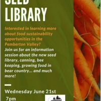 Our local Seed Library is launching. Learn about it at the book Library, Wednesday, June 21, 7pm