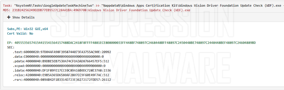 Windows Vision Driver Foundation Update Check (WDF).exe virus
