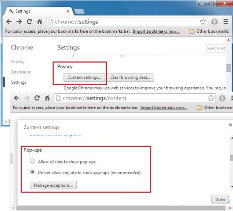 Chrome Block pop-ups