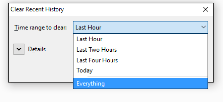 mozilla clear recent history everything