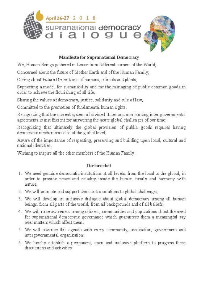 Manifesto for supranational democracy final