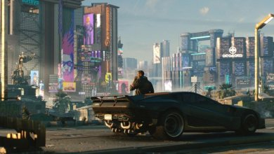Cyberpunk 2077 cidade carro homem