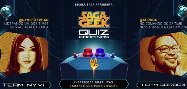 SAGA promove competição de conhecimento geek com a participação de Gordox e Nyvi Estephan