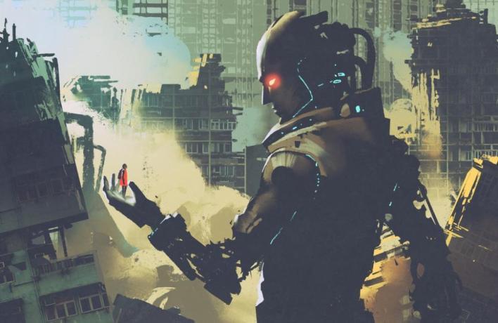 ilustração de um robô gigante futurístico olhando para uma mulher nas suas mãos