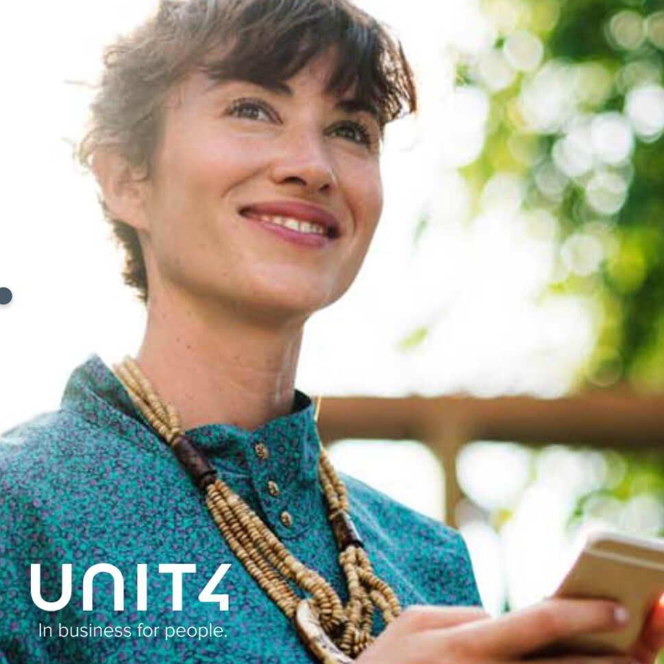 supro proyectos unit4 compañía logo feliz dama