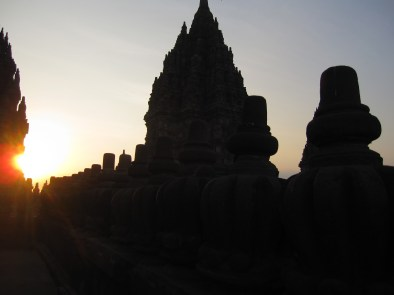 Setting sun in Prambanan backdrop