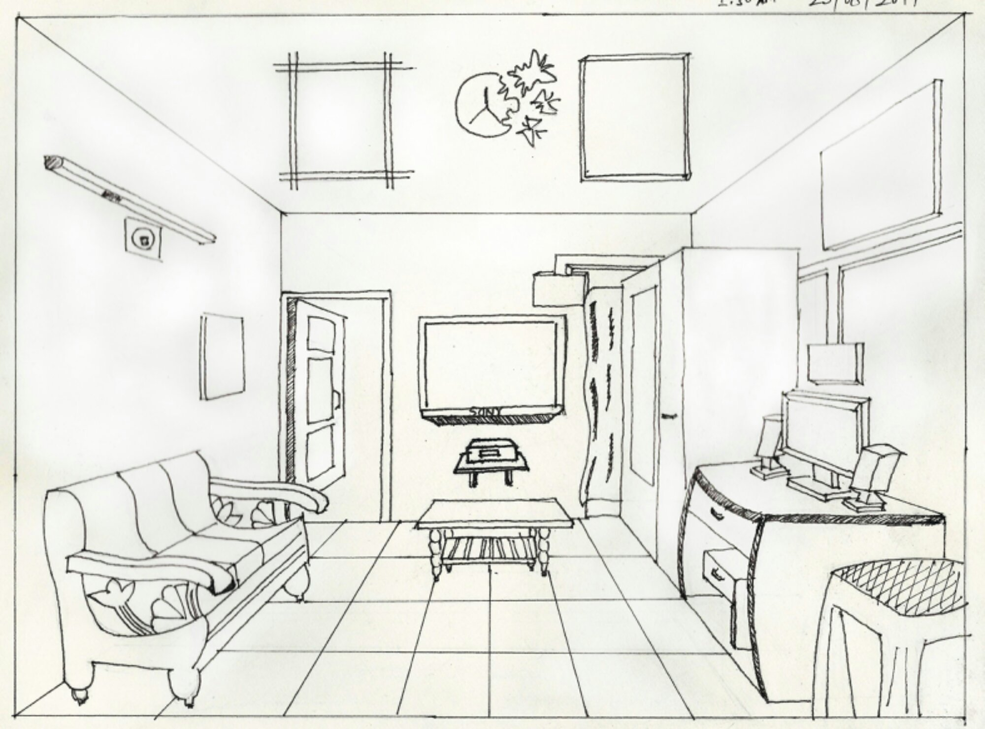 One point perspective living room drawing -  Amazing Living Room One Point Perspective 14 Back Gt Images For Gt One Point