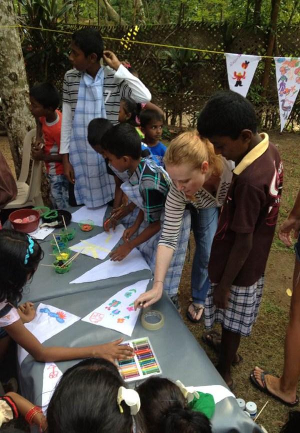 Maria McCavana with children's art classes
