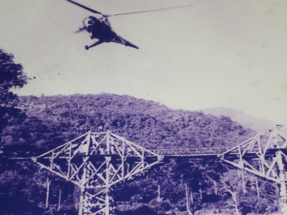 Photo from the set of The Bridge on the River Kwai 1957