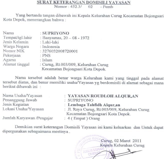 Contoh Surat Domisili Penduduk Download Kumpulan Gambar