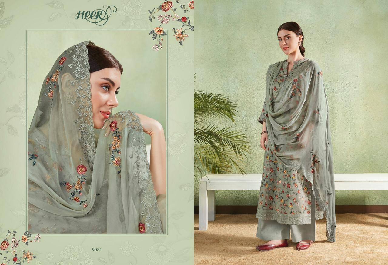 ab1420c102 Kimora Presents Heer vol-46 cotton satin Print with floral embroidery work  plazzo style Salwar Suit Catalogues Wholesaler