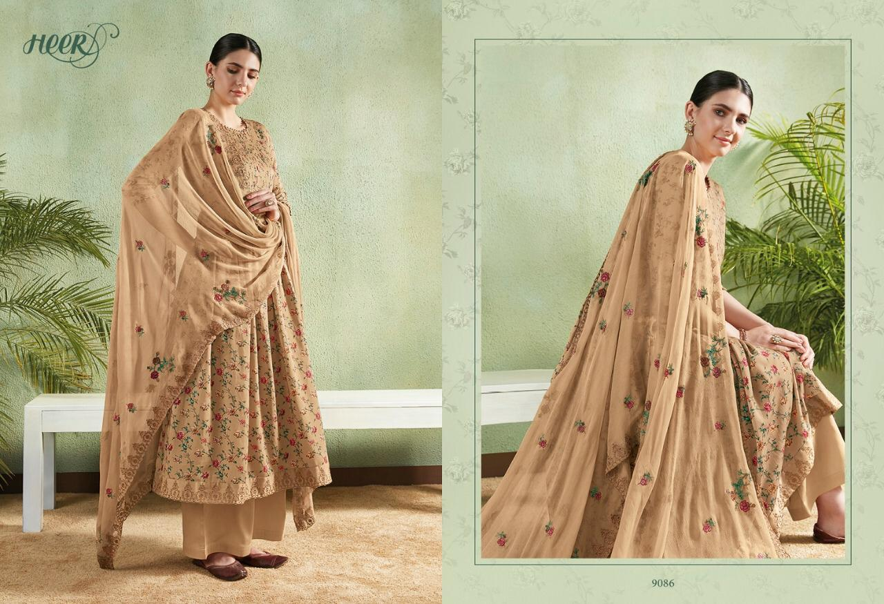 3f6bc59221 Kimora Presents Heer vol-46 cotton satin Print with floral embroidery work  plazzo style Salwar Suit Catalogues Wholesaler