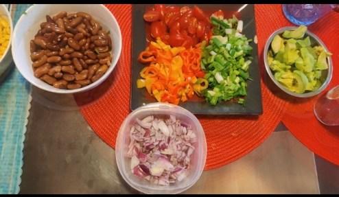 Mexican bean salad ingredients
