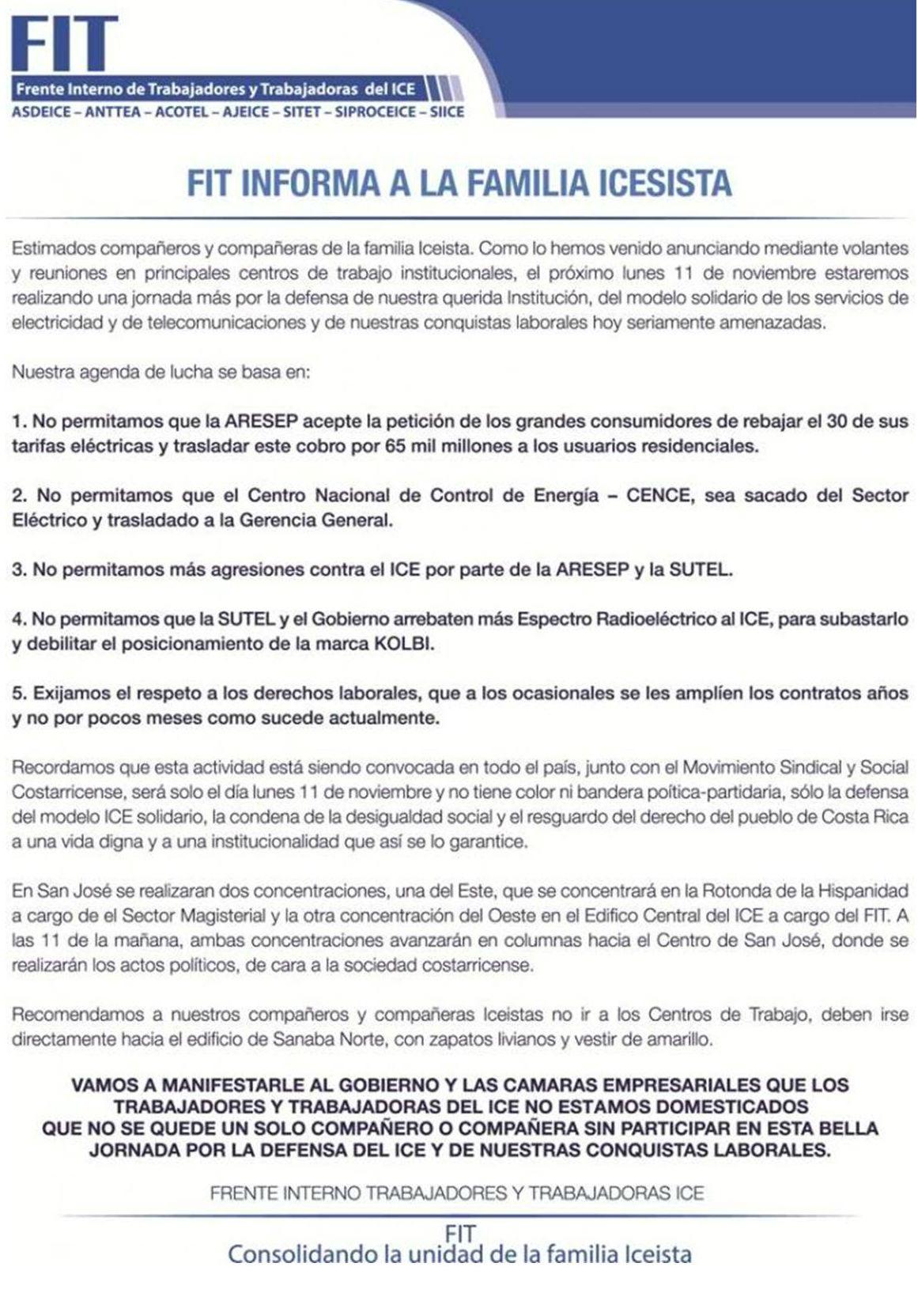 Jornada solidaria del 11 de noviembre - Defensa del modelo ICE solidario