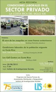 Mesa redonda Condiciones laborales en el sector privado, la Costa Rica del siglo XXI