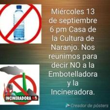 Comunidad de Naranjo dice No a la Embotelladora y la Incineradora