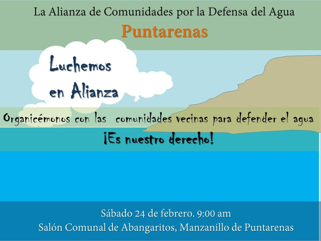 Alianza de Comunidades por la Defensa del Agua invita a movilizarse en Puntarenas