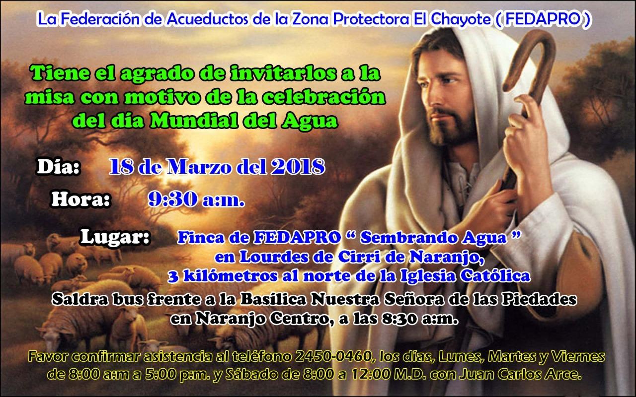 FEDAPRO celebra misa por motivo del Dia Mundial del Agua
