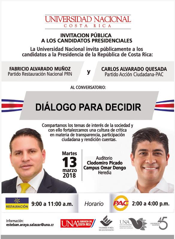 UNA invita publicamente a los candidatos presidenciales a un dialogo para decidir