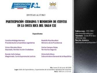Foro Participacion Ciudadana y Rendicion de Cuentas en la Costa Rica del siglo XXI
