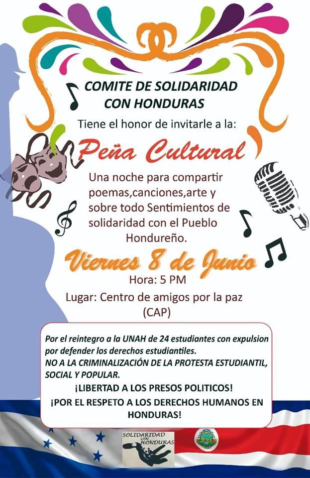 Pena Cultural Una noche de solidaridad con Honduras