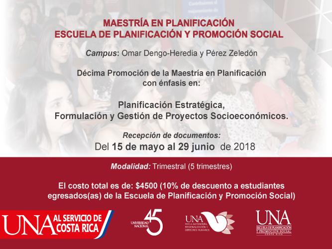 UNA Apertura Maestria en Planificacion en Perez Zeledon y Campus Omar Dengo Heredia