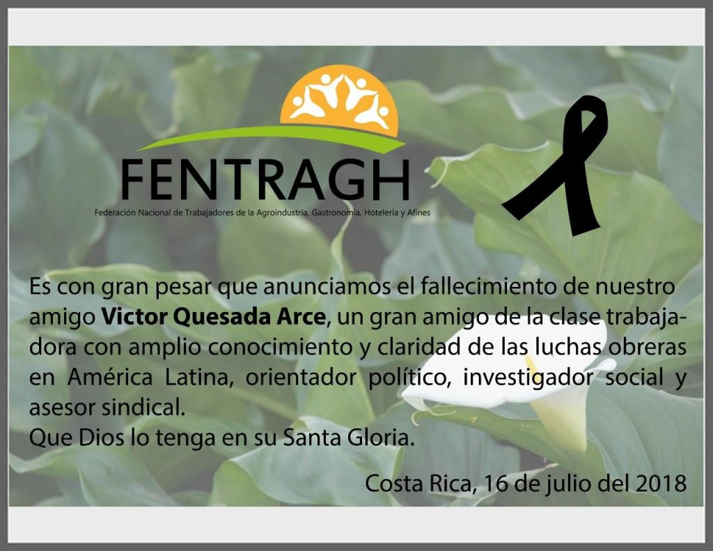 FENTRAGH comunica fallecimiento de Victor Quesada Arce