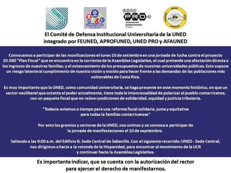 Comite de Defensa Institucional Universitaria de la UNED apoya movilizaciones de lucha