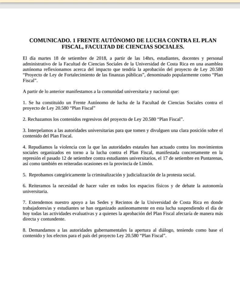 Comunicado Frente Autonomo de Lucha contra el Plan Fiscal