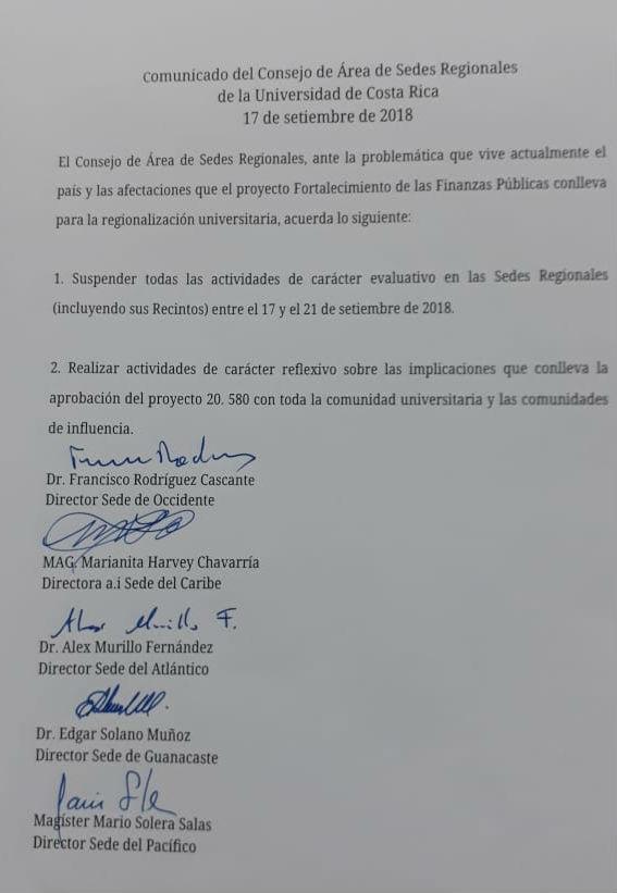 Comunicado del Consejo de Area de Sedes Regionales de la Universidad de Costa Rica