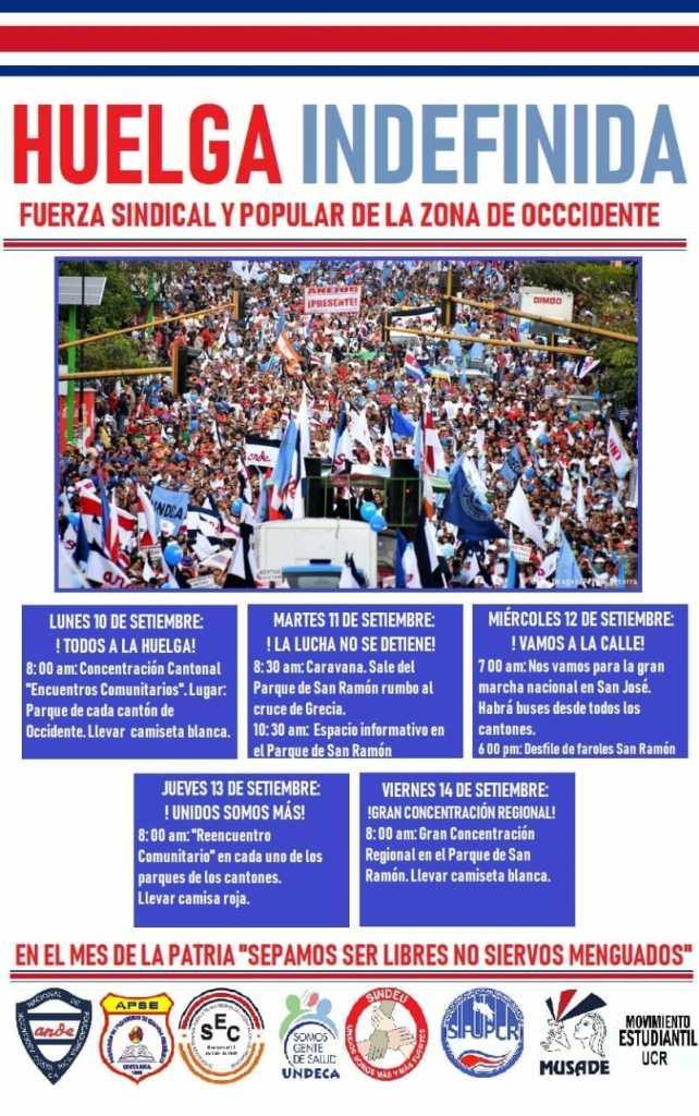 Organizaciones de San Ramon divulgan programa para huelga