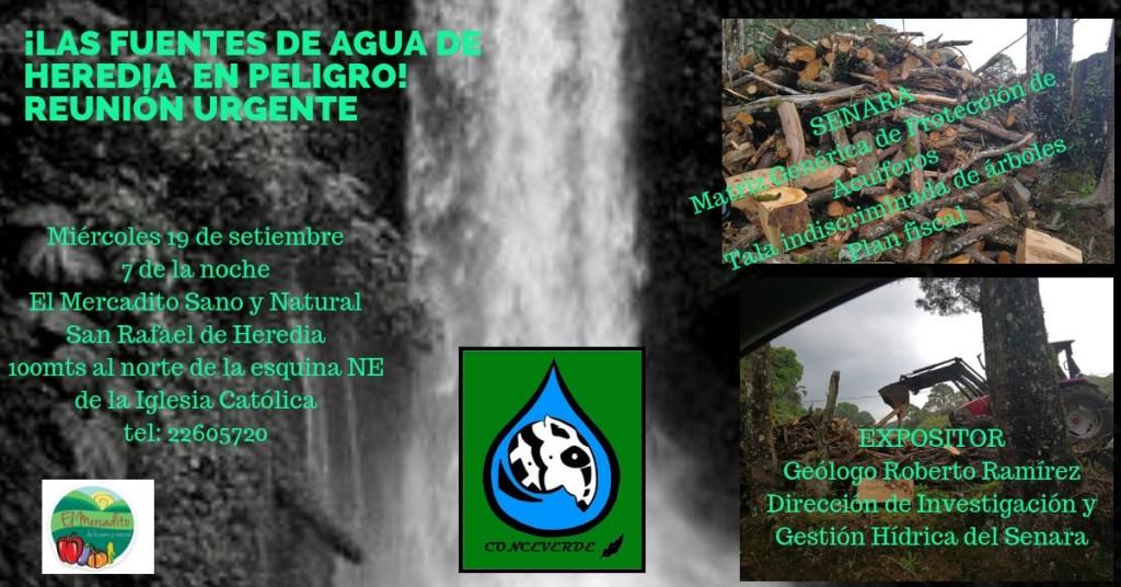 Reunion urgente por las fuentes de agua en Heredia
