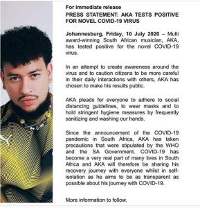 South African Rapper, AKA Tests Positive For Coronavirus