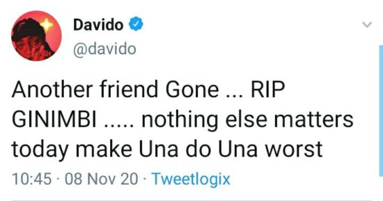 """Another Friend Gone"" – Davido Reacts Sadly To The Death Of Ginimbi The Zimbabwean Who Died In A Gory Accident"