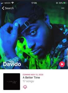 Davido's 'A Better Time' Album To Be Released November 13