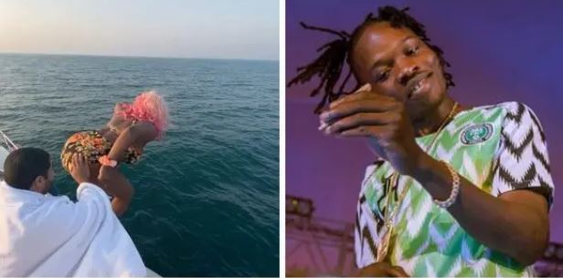 Naira Marley Reacts To DJ Cuppy Jumping Into Ocean In Dubai