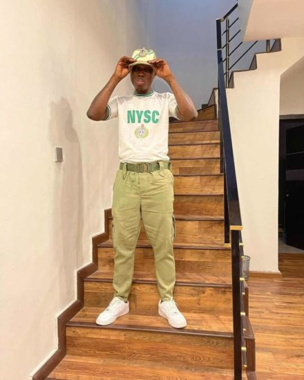 """""""Glory be to God"""" – Zlatan Ibile says as he poses in NYSC kits"""