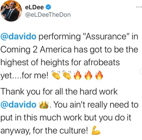 """Nigerian Twitter Reacts To Davido's """"Coming To America 2"""" Performance"""