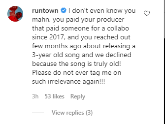 """""""I don't Know You… Don't Ever Tag Me To Nonsense""""- Runtown Comes For Willie XO"""