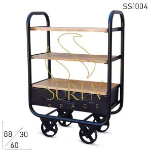 SS1004 Suren Space Black Finish serving cum display cart met lade