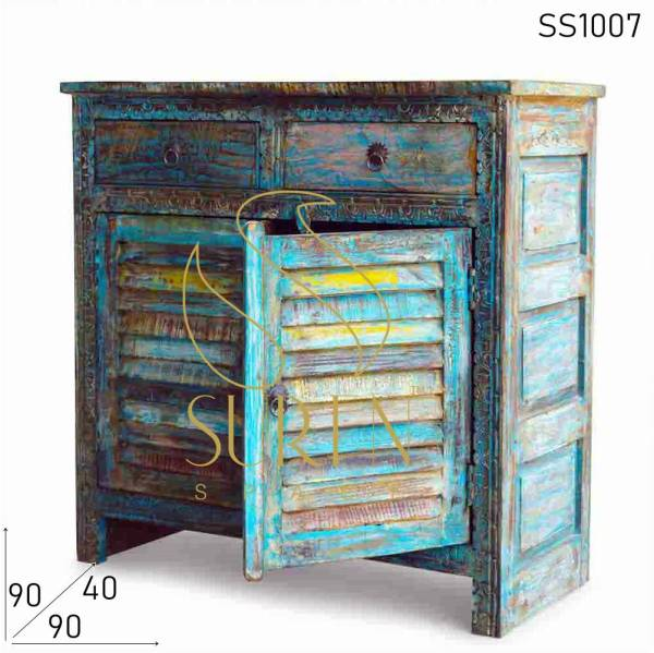 SS1007 Suren Space Blue Distress Reclaimed Wood Cabinet with Carving pattern