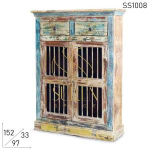 SS1008 Suren Space Multicolored Reclaimed Wood Storage Cabinet With Drawers