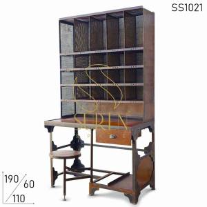 SS1021 Suren Space Rustic Finish Metal Unique Design Hutch Cum Display Rack