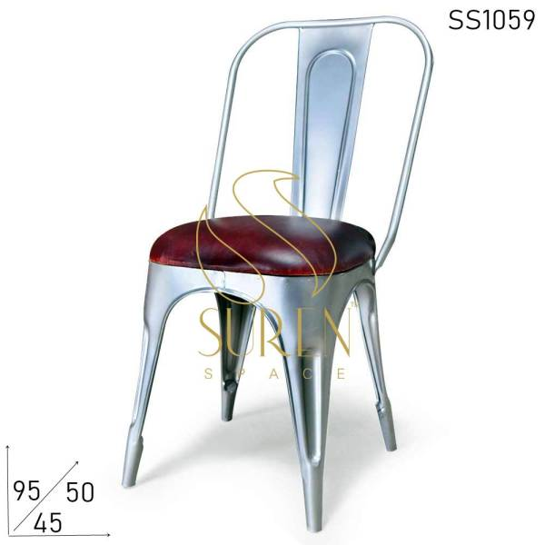 SS1059 Suren Space Metallic Finish Powder Coated All Weather Leather Seat Iron Chair