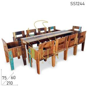 SS1244 Suren Space Indian Style Reclaimed Community Table Chairs Set