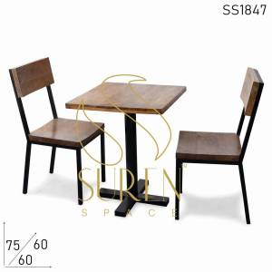 SS1847 Suren Space Solid Wood Curve Bend Metal Wooden Bistro Seating Set