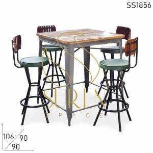 SS1856 Suren Space Indoor Semi Outdoor Industrial Inspire Bar Table Chairs Set