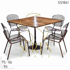 SS1861 Suren Space Stackable Metal Outdoor Chairs & Fonte Table Set